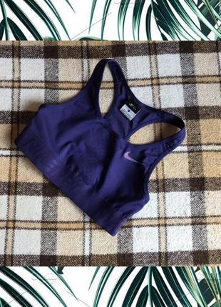 Фирменный спортивный фиолетовый топ майка nike dri-fit original р. xs2 фото