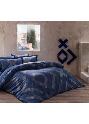 Постельное белье tac сатин delux - bellamy синий еврокомплект сатин делюкс