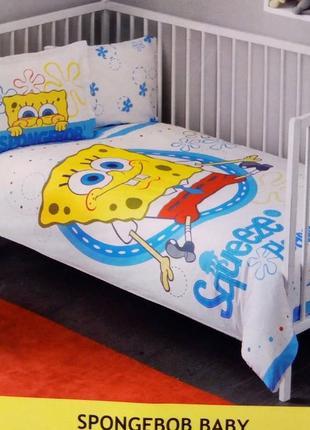 Детская постель в кроватку губка боб постельное белье для новорожденныхtac sponge bob