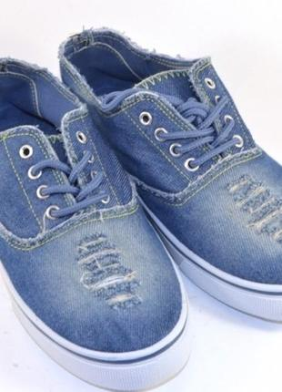 Удобные джинсовые рваные кеды слипоны на шнуровке