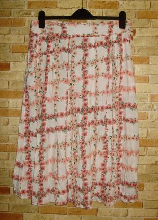 Красивая вискозная юбка на резинке цветочный принт штапель 14/48-50 размера