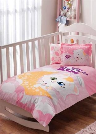 Комплект постельного белья в кроватку tac pisi baby постель котёнок писи