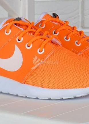 Кроссовки женские текстильные оранжевые с белым3 фото