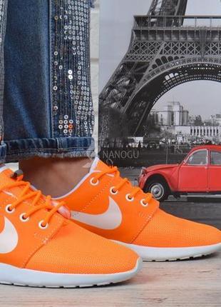 Кроссовки женские текстильные оранжевые с белым4 фото