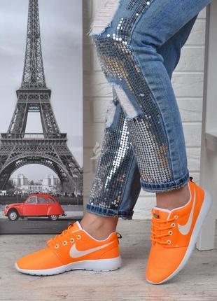 Кроссовки женские текстильные оранжевые с белым