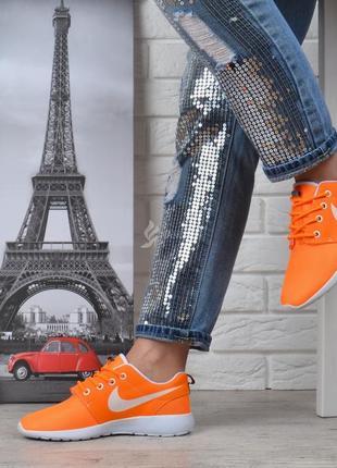 Кроссовки женские текстильные оранжевые с белым5 фото