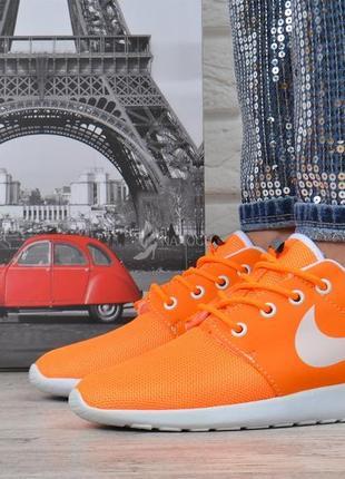 Кроссовки женские текстильные оранжевые с белым2 фото