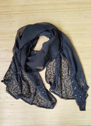 Шелковый палантин / шарф расшитый бисером и пайетками tie rack