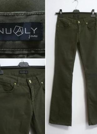 Правильные джинсы клеш цвет хаки, nualy италия, m