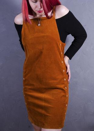 Темно-оранжевый  вельветовый сарафан, оранжевый комбинезон  marks & spencer