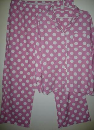 Пижама розовая в горох, хлопок