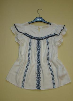 Нарядная вискозная белая вышитая блуза / блузка zara xxs / xs