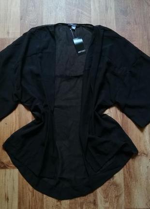 Черный прозрачный кардиган кимоно