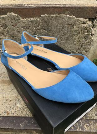 Новые голубые женские туфли/босоножки без каблука