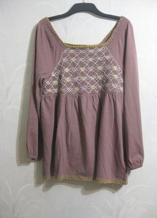 Платье туника roaman's вышивка вышиванка сиреневое розовое хлопок коттон индия usa