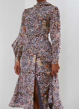 Эксклюзивное шёлковое платье миди h&m conscious