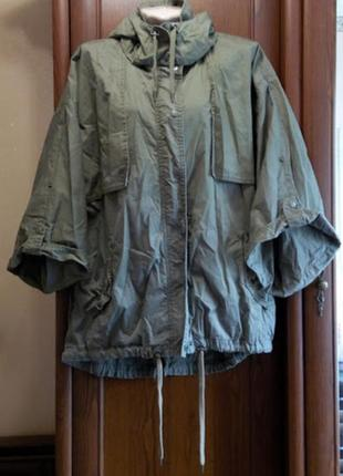Коттоновая куртка ветровка хаки оверсайз летучая мышь lindex