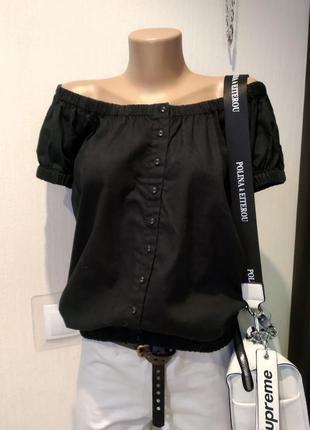 Стильная черная рубашка блузка льняная большого размера