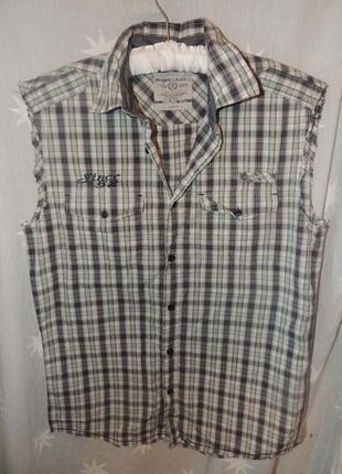 Качественная хлопковая рубашка  без рукавов angelo litrico s 37\38