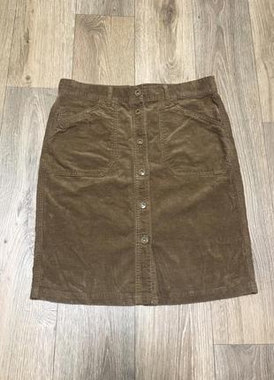 Вельветовая коричневая юбка на пуговицах m&s