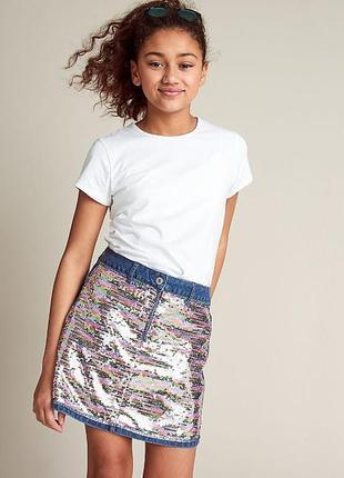George джинсовая юбка с пайетками на девочку 13-14 лет, рост 158-164 см