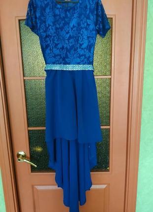 Платье вечернее выпускн свадьба синие шлейф длинное