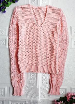 Вязаный шерстяной ажурный джемпер пуловер