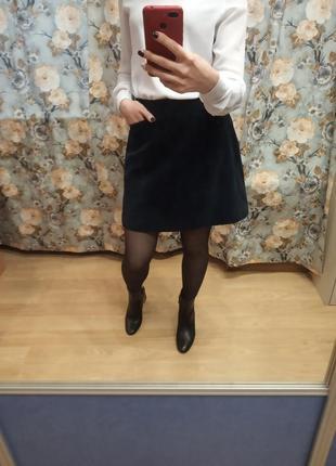 Классная юбка а силуэта , трапеция из натуральной замши