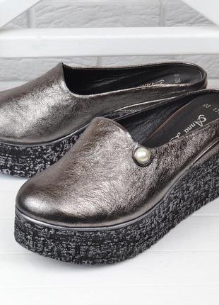 Сабо женские кожаные на танкетке anna lucci металлик серебро мюли