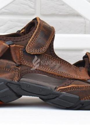 Сандалии мужские кожаные спортивные fly fast вьетнам коричневые на липучках3 фото