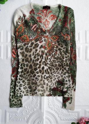 Ангоровый джемпер пуловер, расшит пайетками и бисером