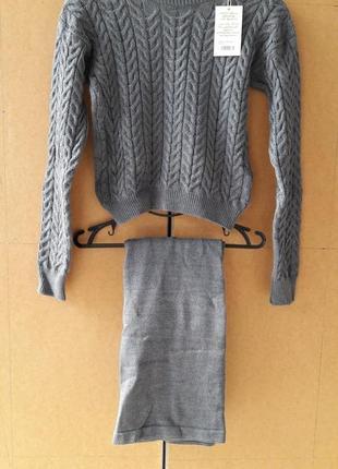 Вязанный комплект костюм юбка и кофта свитер