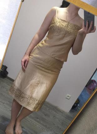 Нарядный шелковый золотой костюм (топ и юбка)
