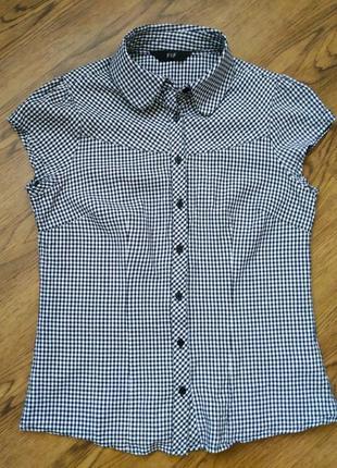 Рубашка с коротким рукавом блуза блузка в клетку виши черно-белая клетка тренд 2020
