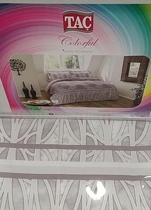 Постельное белье tac сатин digital - elise постель серый еврокомплект