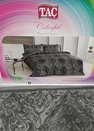 Постельное белье tac сатин digital - rebel  постель серый евро