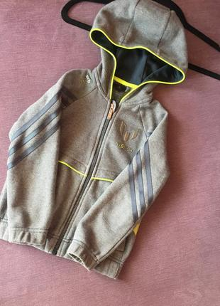Кофта , реглан с капюшоном adidas ( оригинал ) не секонд 4/5 годика