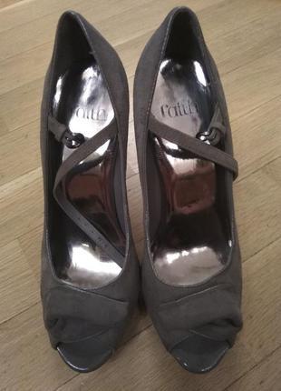Супер элегантные замшевые туфли faith цвет пудровый серый  р. 38