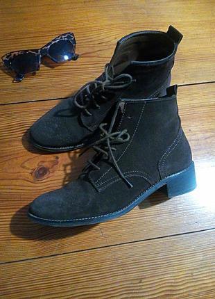 Ботинки из натуральной кожи, верх-замш