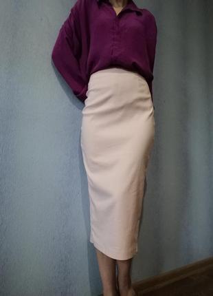 Пудровая миди  юбка asos