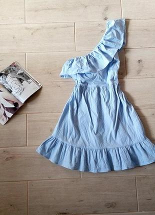 Невероятно милое и нежное платье сарафан на одно плечо с воланом р. m l