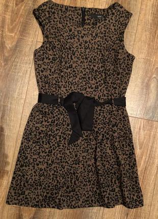 Милое тигровое платье под пояс l