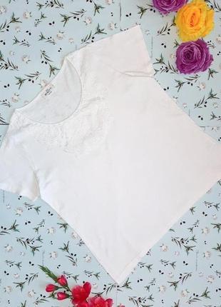 Акция 1+1=3 шикарная белая футболка с кружевом gina benotti, размер 48 - 50