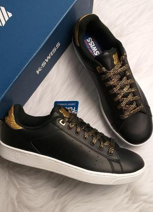 K-swiss  оригинал кожаные черные с золотым глитером кеды бренд из сша