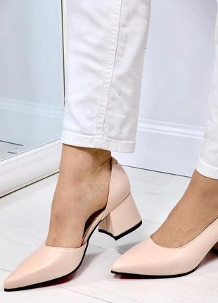 Натуральная кожа люксовые пудровые туфли на среднем каблуке