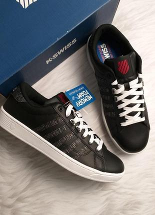 K-swiss оригинал кожаные черные кеды бренд из сша