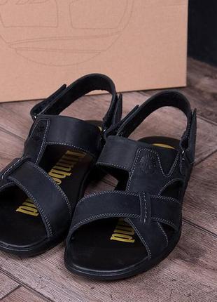Мужские кожаные сандалии т-2 (1 черн)