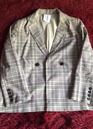 Двубортный пиджак в клетку2 фото
