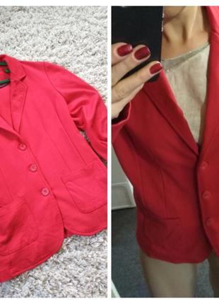 Актуальный комфортный трикотажный пиджак, красный, street one, p. 44-46