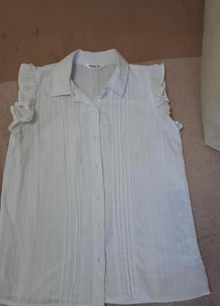 Белая блузка на девочку 100%хлопок